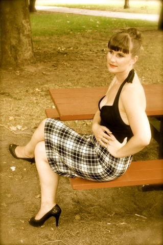 Check mate skirt - seated