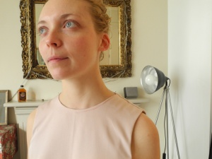 Fitting SS13 - This is Alice our fit model - we mark and pin any changes to the toiles, inbetween lots of tea!