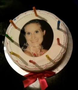 Lol. I was surprised with a cake with my face on it - scary! (yet delicious)